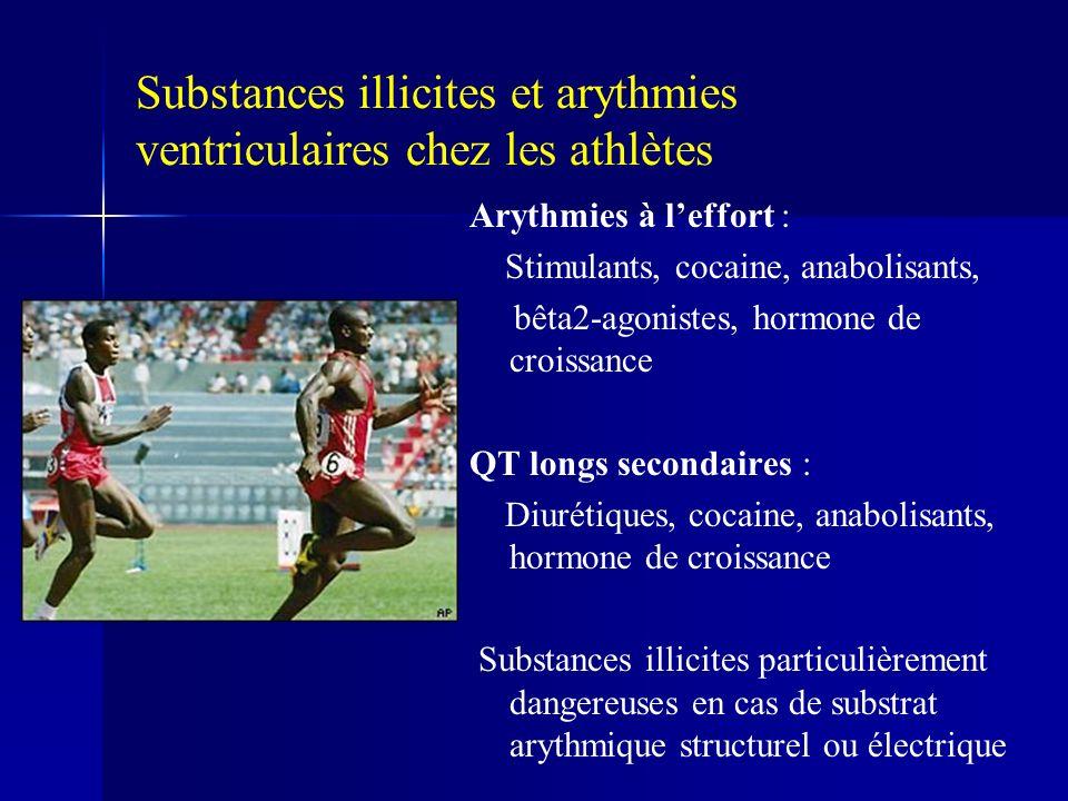 Substances illicites et arythmies ventriculaires chez les athlètes Arythmies à leffort : Stimulants, cocaine, anabolisants, bêta2-agonistes, hormone d