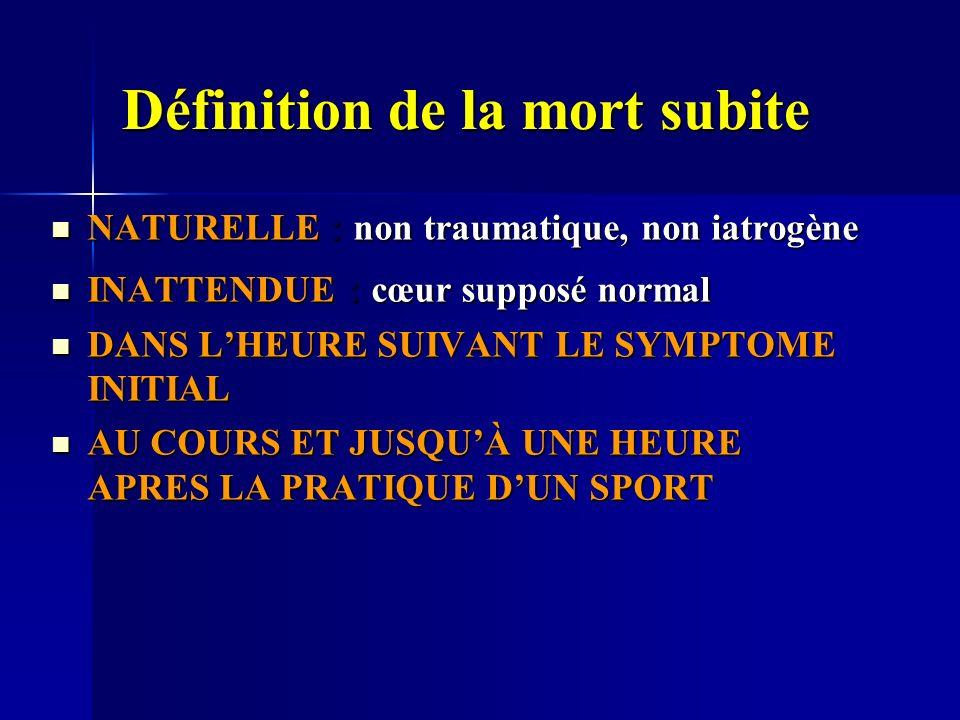 Définition de la mort subite NATURELLE : non traumatique, non iatrogène NATURELLE : non traumatique, non iatrogène INATTENDUE : cœur supposé normal INATTENDUE : cœur supposé normal DANS LHEURE SUIVANT LE SYMPTOME INITIAL DANS LHEURE SUIVANT LE SYMPTOME INITIAL AU COURS ET JUSQUÀ UNE HEURE APRES LA PRATIQUE DUN SPORT AU COURS ET JUSQUÀ UNE HEURE APRES LA PRATIQUE DUN SPORT