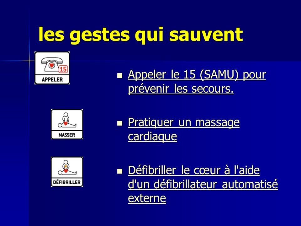 les gestes qui sauvent Appeler le 15 (SAMU) pour prévenir les secours. Appeler le 15 (SAMU) pour prévenir les secours. Appeler le 15 (SAMU) pour préve