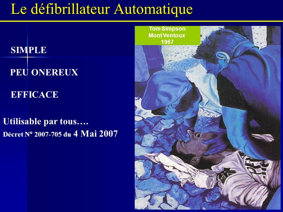 Le défibrillateur Automatique EFFICACE PEU ONEREUX Tom Simpson Mont Ventoux 1967 SIMPLE Utilisable par tous…. Décret N° 2007-705 du 4 Mai 2007