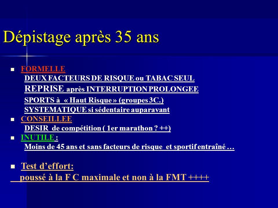 FORMELLE DEUX FACTEURS DE RISQUE ou TABAC SEUL REPRISE après INTERRUPTION PROLONGEE SPORTS à « Haut Risque » (groupes 3C.) SYSTEMATIQUE si sédentaire auparavant CONSEILLEE DESIR de compétition ( 1er marathon .