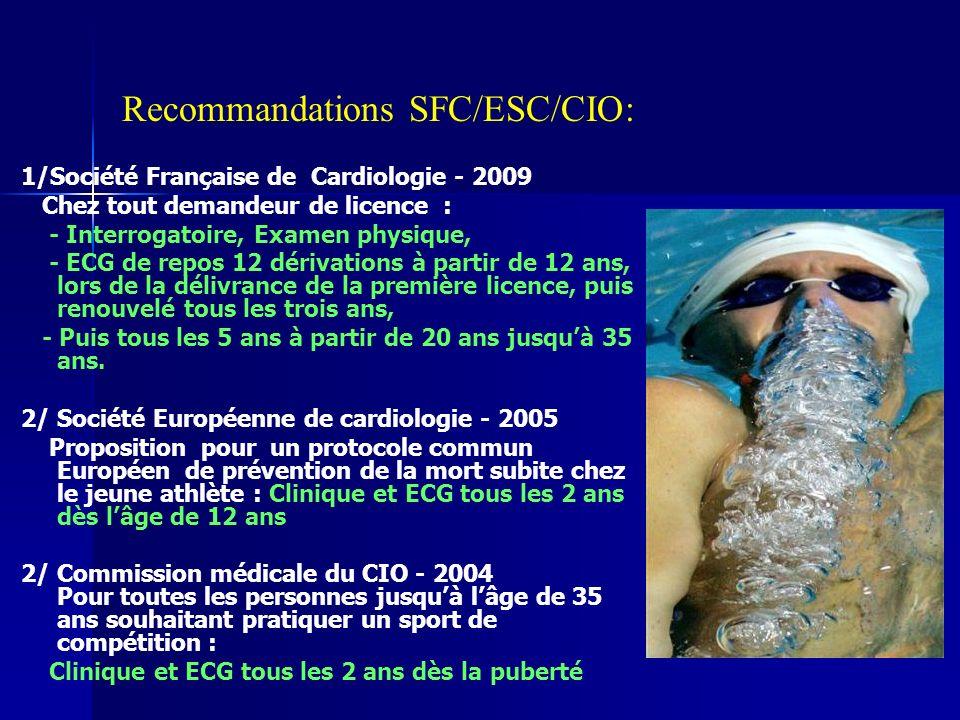 Recommandations SFC/ESC/CIO: 1/Société Française de Cardiologie - 2009 Chez tout demandeur de licence : - Interrogatoire, Examen physique, - ECG de repos 12 dérivations à partir de 12 ans, lors de la délivrance de la première licence, puis renouvelé tous les trois ans, - Puis tous les 5 ans à partir de 20 ans jusquà 35 ans.