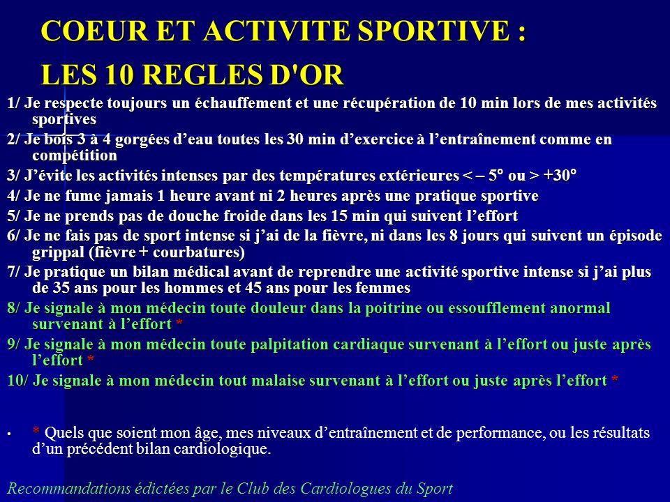 COEUR ET ACTIVITE SPORTIVE : LES 10 REGLES D'OR 1/ Je respecte toujours un échauffement et une récupération de 10 min lors de mes activités sportives