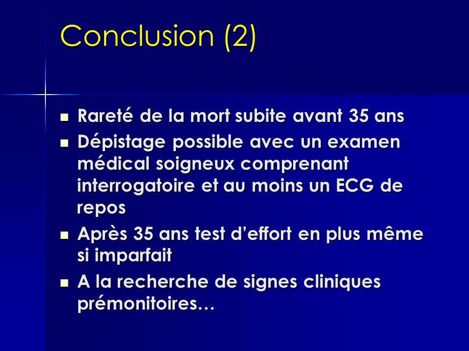 Conclusion (2) Rareté de la mort subite avant 35 ans Rareté de la mort subite avant 35 ans Dépistage possible avec un examen médical soigneux comprena