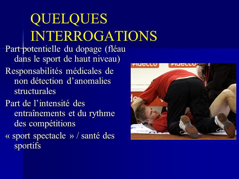 QUELQUES INTERROGATIONS Part potentielle du dopage (fléau dans le sport de haut niveau) Responsabilités médicales de non détection danomalies structurales Part de lintensité des entraînements et du rythme des compétitions « sport spectacle » / santé des sportifs