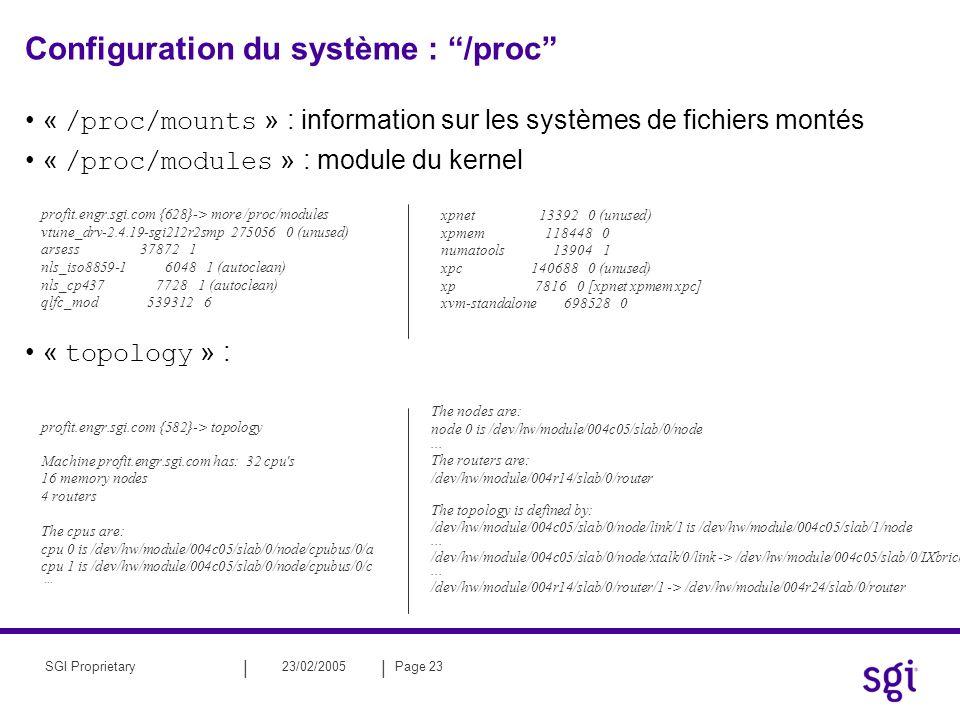 || 23/02/2005Page 23SGI Proprietary Configuration du système : /proc « /proc/mounts » : information sur les systèmes de fichiers montés « /proc/module