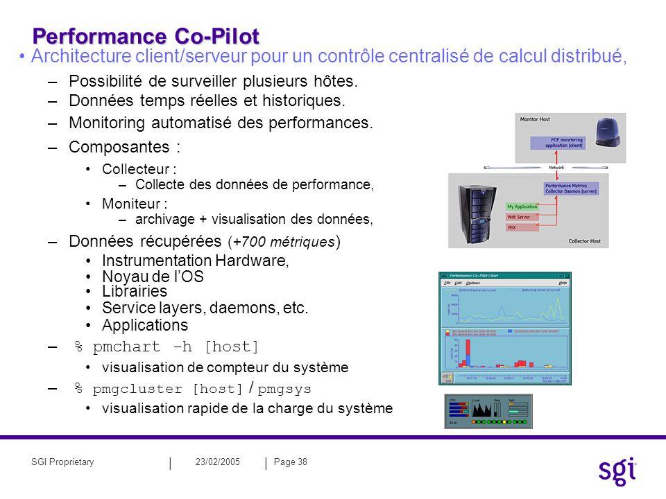 || 23/02/2005Page 38SGI Proprietary Performance Co-Pilot Architecture client/serveur pour un contrôle centralisé de calcul distribué, –Possibilité de surveiller plusieurs hôtes.