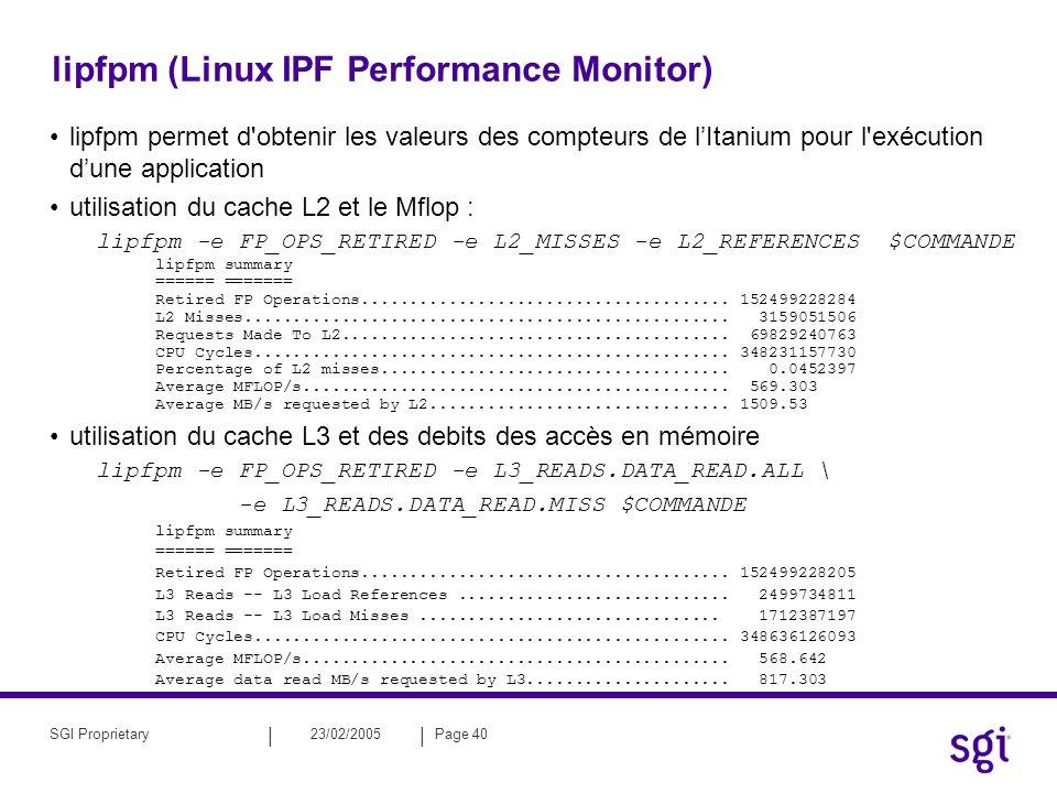 || 23/02/2005Page 40SGI Proprietary lipfpm (Linux IPF Performance Monitor) lipfpm permet d'obtenir les valeurs des compteurs de lItanium pour l'exécut
