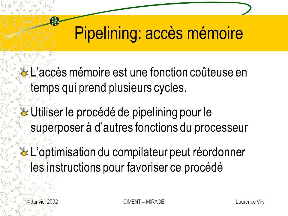 14 Janvier 2002 CIMENT – MIRAGE Laurence Viry Pipelining: accès mémoire Laccès mémoire est une fonction coûteuse en temps qui prend plusieurs cycles.