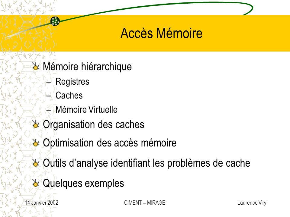 14 Janvier 2002 CIMENT – MIRAGE Laurence Viry Accès Mémoire Mémoire hiérarchique –Registres –Caches –Mémoire Virtuelle Organisation des caches Optimis