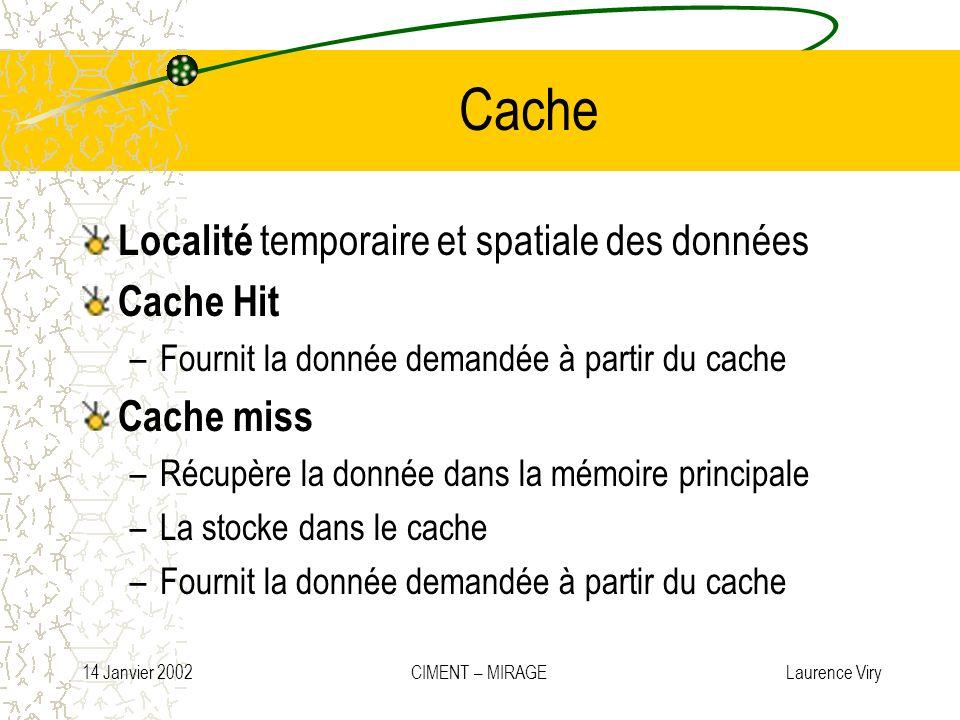 14 Janvier 2002 CIMENT – MIRAGE Laurence Viry Cache Localité temporaire et spatiale des données Cache Hit –Fournit la donnée demandée à partir du cach