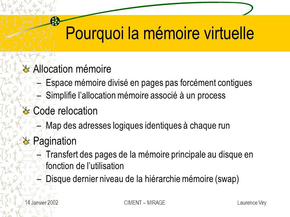 14 Janvier 2002 CIMENT – MIRAGE Laurence Viry Pourquoi la mémoire virtuelle Allocation mémoire –Espace mémoire divisé en pages pas forcément contigues