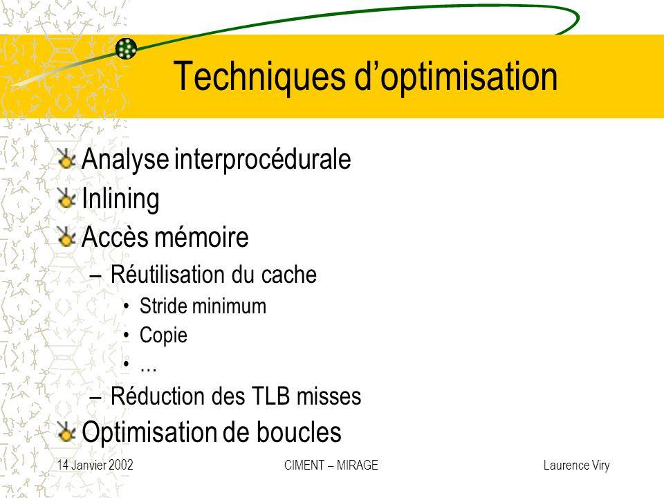 14 Janvier 2002 CIMENT – MIRAGE Laurence Viry Techniques doptimisation Analyse interprocédurale Inlining Accès mémoire –Réutilisation du cache Stride