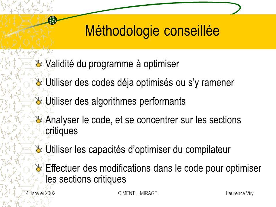 14 Janvier 2002 CIMENT – MIRAGE Laurence Viry Méthodologie conseillée Validité du programme à optimiser Utiliser des codes déja optimisés ou sy ramene