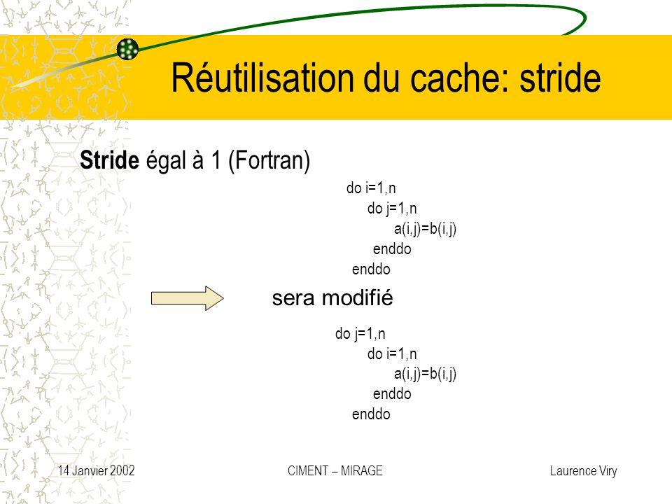 14 Janvier 2002 CIMENT – MIRAGE Laurence Viry Réutilisation du cache: stride Stride égal à 1 (Fortran) do i=1,n do j=1,n a(i,j)=b(i,j) enddo do j=1,n