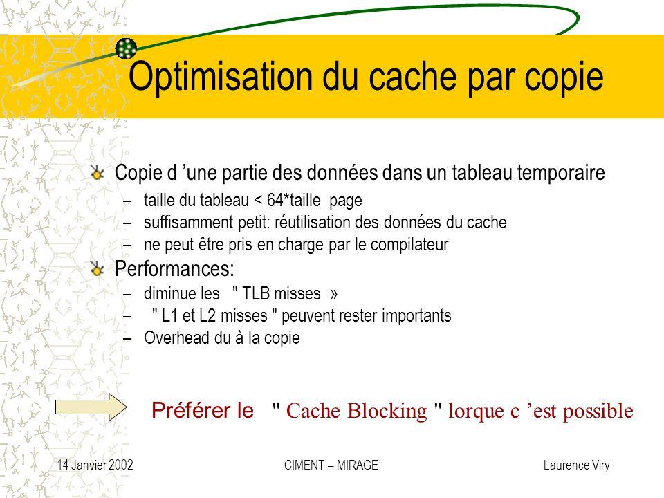 14 Janvier 2002 CIMENT – MIRAGE Laurence Viry Optimisation du cache par copie Copie d une partie des données dans un tableau temporaire –taille du tab