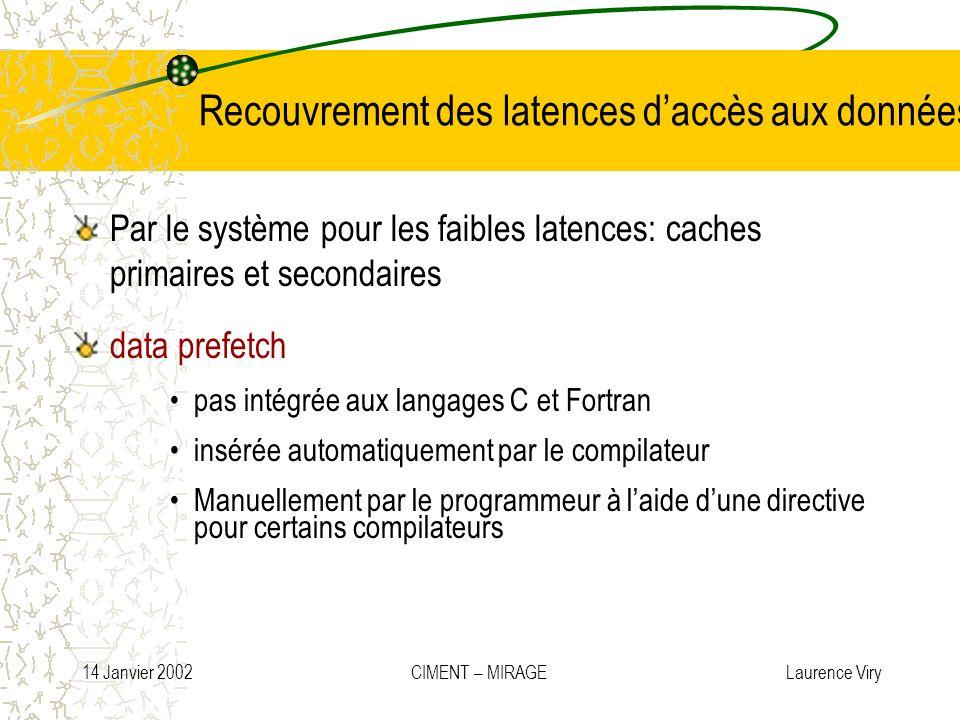 14 Janvier 2002 CIMENT – MIRAGE Laurence Viry Recouvrement des latences daccès aux données Par le système pour les faibles latences: caches primaires