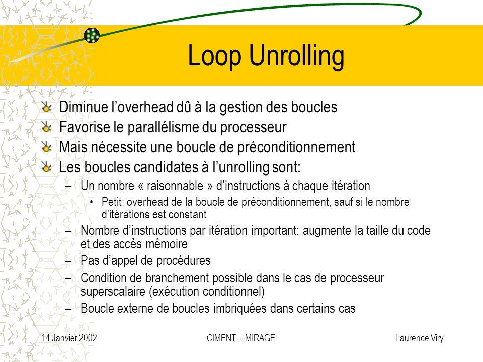 14 Janvier 2002 CIMENT – MIRAGE Laurence Viry Loop Unrolling Diminue loverhead dû à la gestion des boucles Favorise le parallélisme du processeur Mais