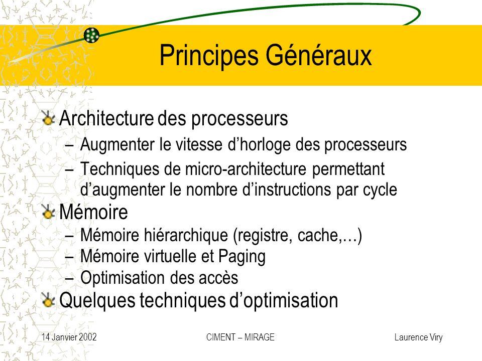 14 Janvier 2002 CIMENT – MIRAGE Laurence Viry Principes Généraux Architecture des processeurs –Augmenter le vitesse dhorloge des processeurs –Techniqu