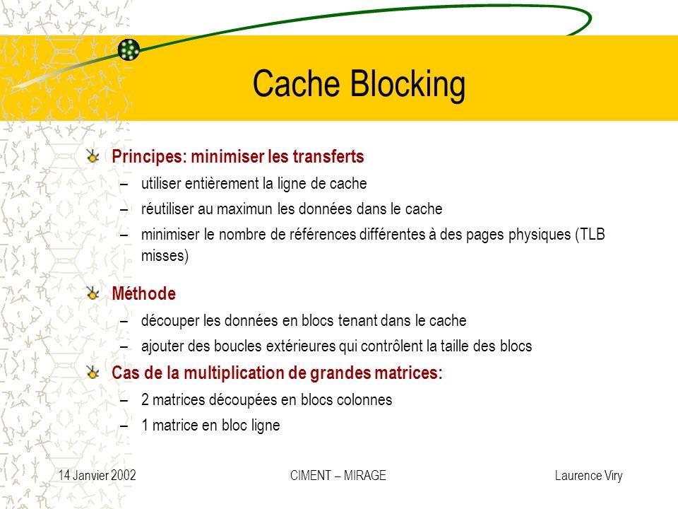 14 Janvier 2002 CIMENT – MIRAGE Laurence Viry Cache Blocking Principes: minimiser les transferts –utiliser entièrement la ligne de cache –réutiliser a
