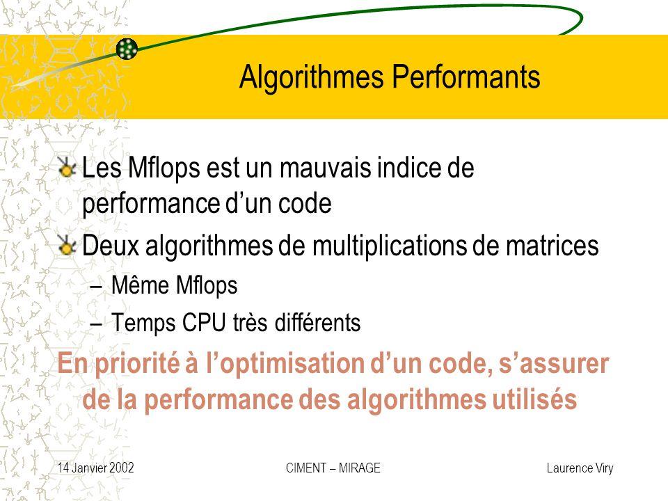 14 Janvier 2002 CIMENT – MIRAGE Laurence Viry Algorithmes Performants Les Mflops est un mauvais indice de performance dun code Deux algorithmes de mul