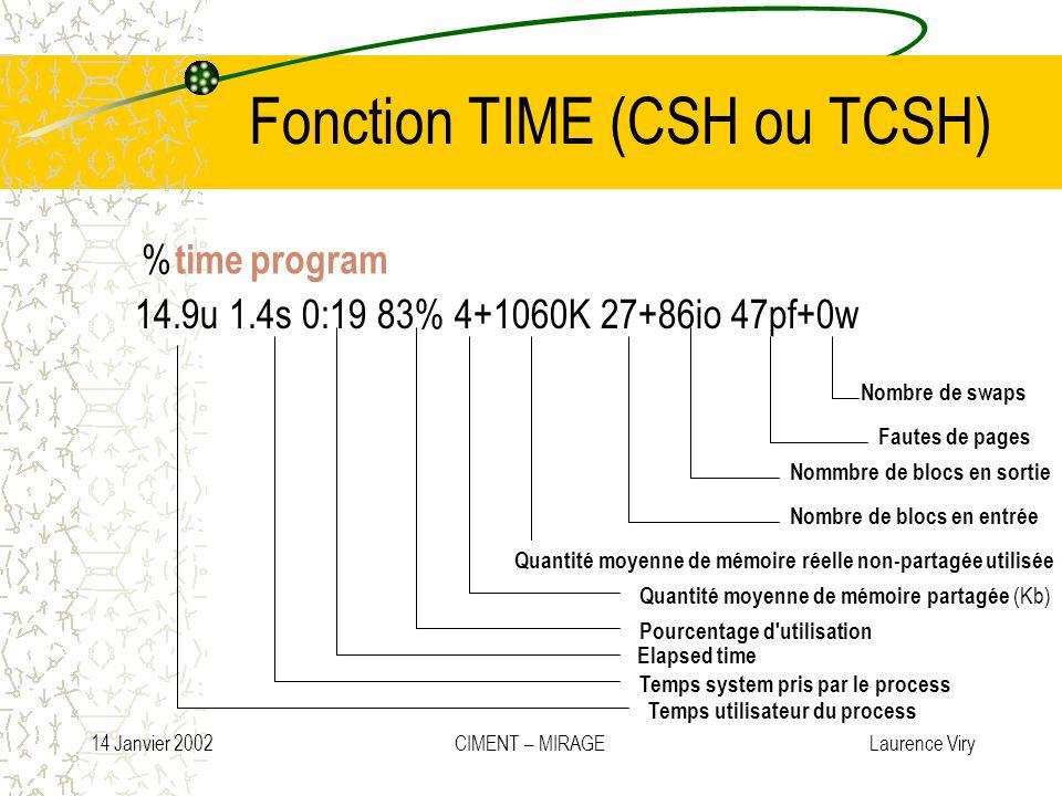 14 Janvier 2002 CIMENT – MIRAGE Laurence Viry Fonction TIME (CSH ou TCSH) % time program 14.9u 1.4s 0:19 83% 4+1060K 27+86io 47pf+0w Temps utilisateur