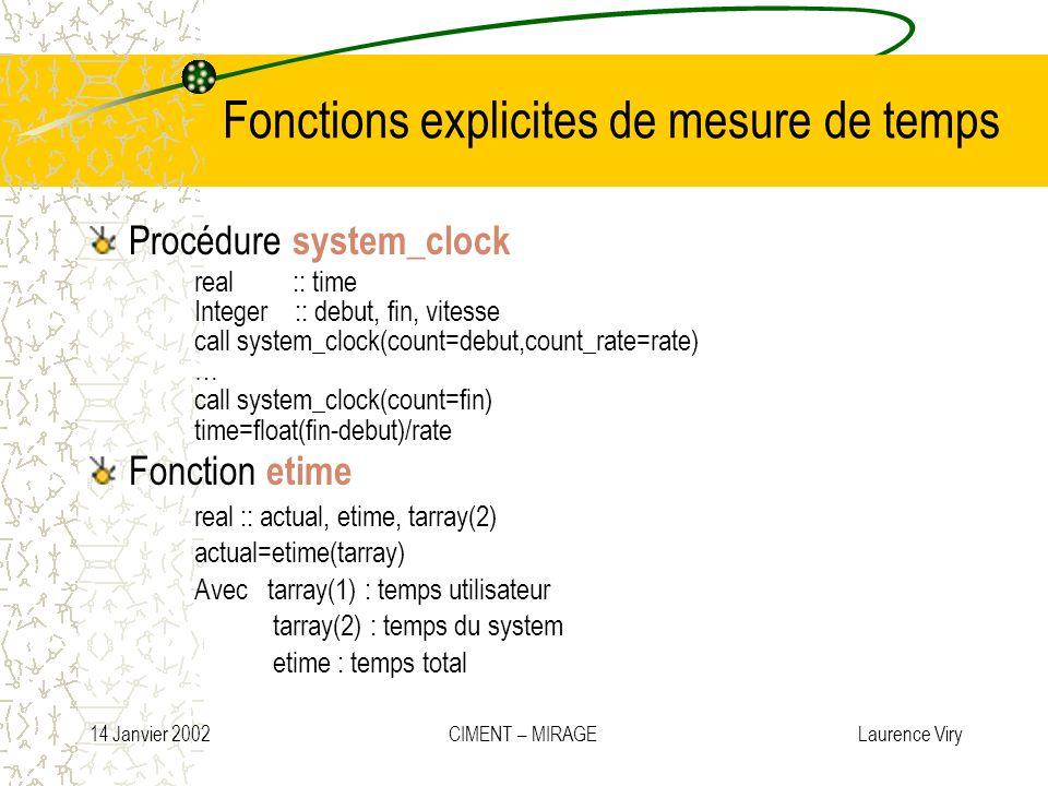 14 Janvier 2002 CIMENT – MIRAGE Laurence Viry Fonctions explicites de mesure de temps Procédure system_clock real :: time Integer :: debut, fin, vites