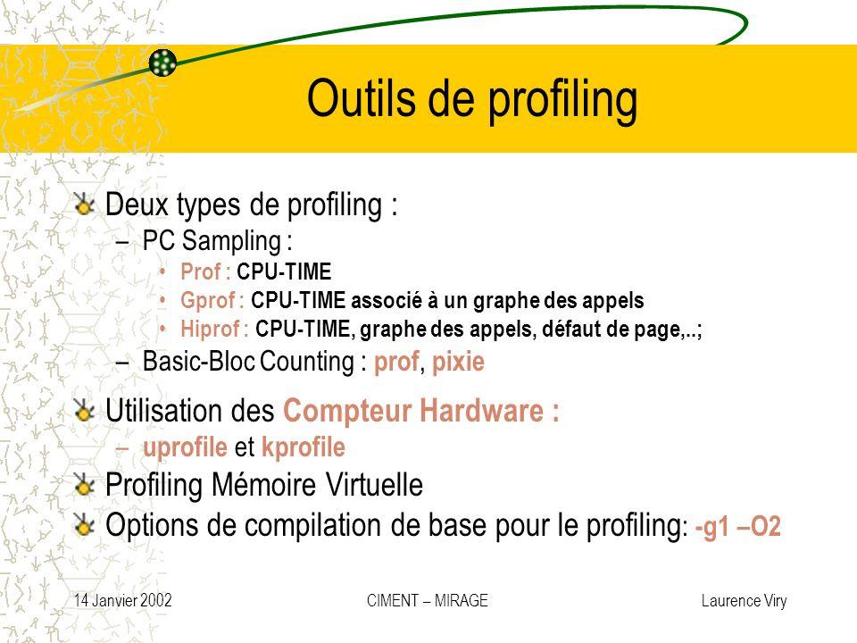 14 Janvier 2002 CIMENT – MIRAGE Laurence Viry Outils de profiling Deux types de profiling : –PC Sampling : Prof : CPU-TIME Gprof : CPU-TIME associé à