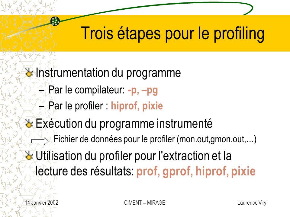 14 Janvier 2002 CIMENT – MIRAGE Laurence Viry Trois étapes pour le profiling Instrumentation du programme –Par le compilateur: -p, –pg –Par le profile