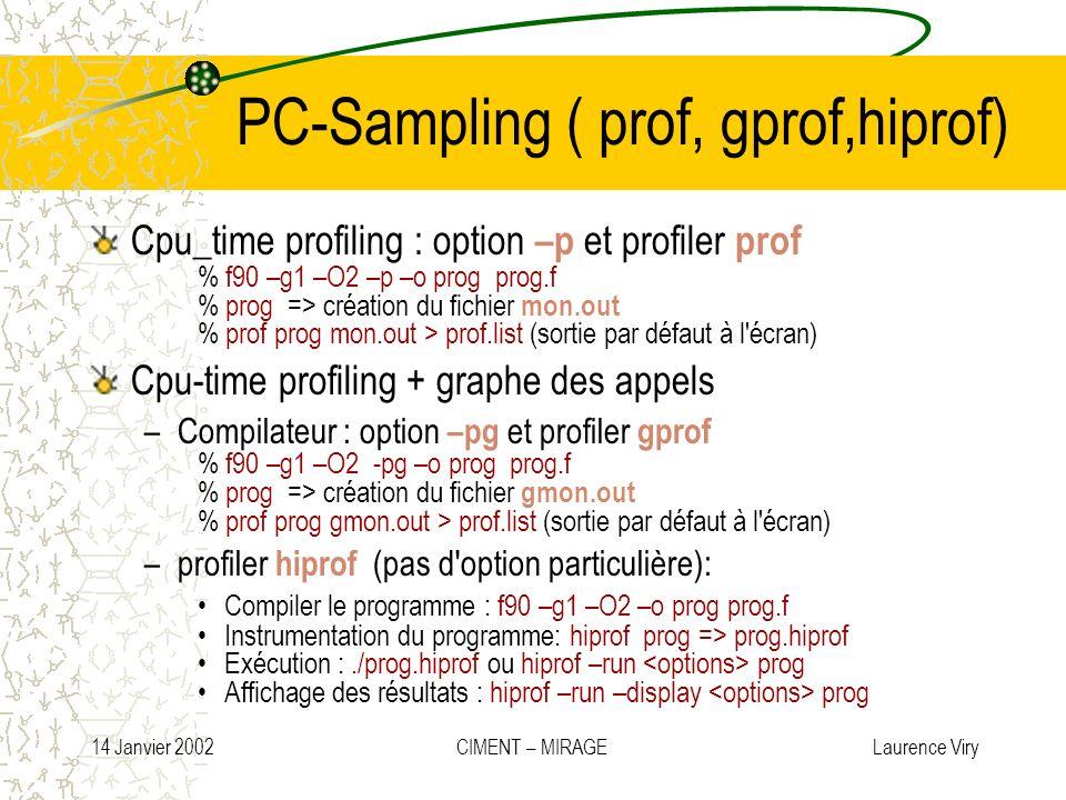 14 Janvier 2002 CIMENT – MIRAGE Laurence Viry PC-Sampling ( prof, gprof,hiprof) Cpu_time profiling : option –p et profiler prof % f90 –g1 –O2 –p –o pr