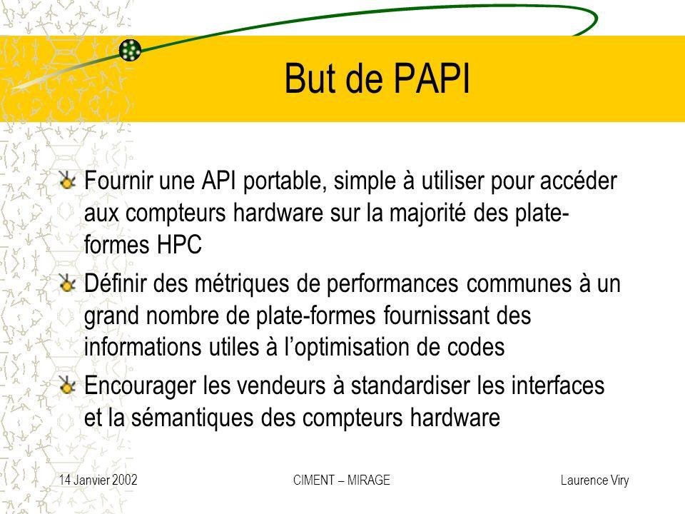 14 Janvier 2002 CIMENT – MIRAGE Laurence Viry But de PAPI Fournir une API portable, simple à utiliser pour accéder aux compteurs hardware sur la major