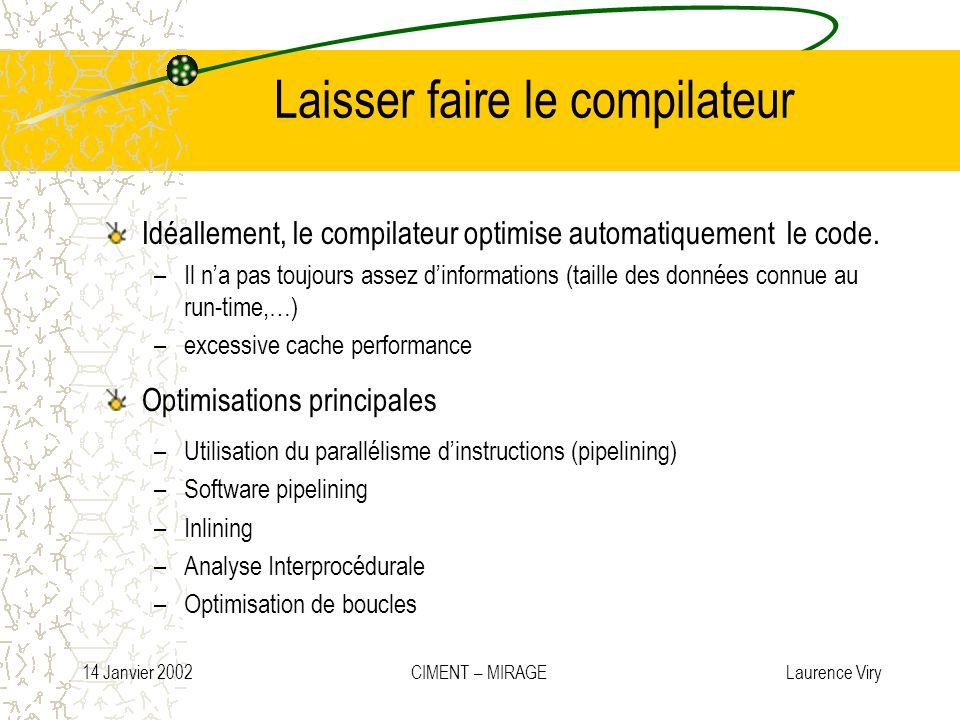 14 Janvier 2002 CIMENT – MIRAGE Laurence Viry Laisser faire le compilateur Idéallement, le compilateur optimise automatiquement le code. –Il na pas to