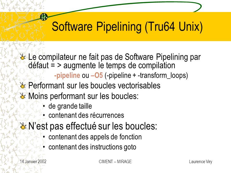 14 Janvier 2002 CIMENT – MIRAGE Laurence Viry Software Pipelining (Tru64 Unix) Le compilateur ne fait pas de Software Pipelining par défaut = > augmen