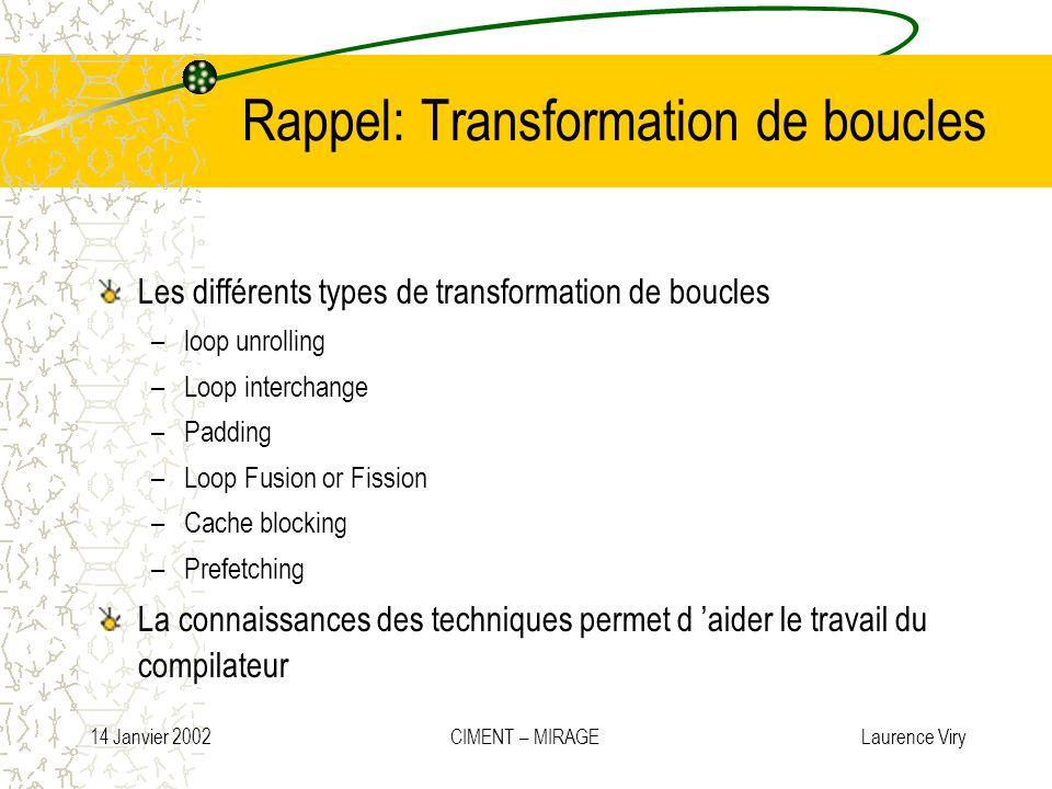 14 Janvier 2002 CIMENT – MIRAGE Laurence Viry Rappel: Transformation de boucles Les différents types de transformation de boucles –loop unrolling –Loo