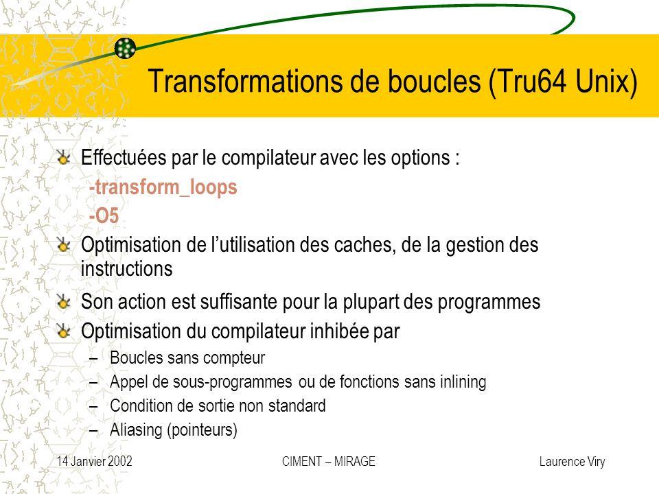 14 Janvier 2002 CIMENT – MIRAGE Laurence Viry Transformations de boucles (Tru64 Unix) Effectuées par le compilateur avec les options : -transform_loop