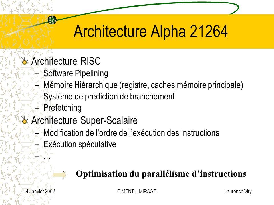14 Janvier 2002 CIMENT – MIRAGE Laurence Viry Architecture Alpha 21264 Architecture RISC –Software Pipelining –Mémoire Hiérarchique (registre, caches,