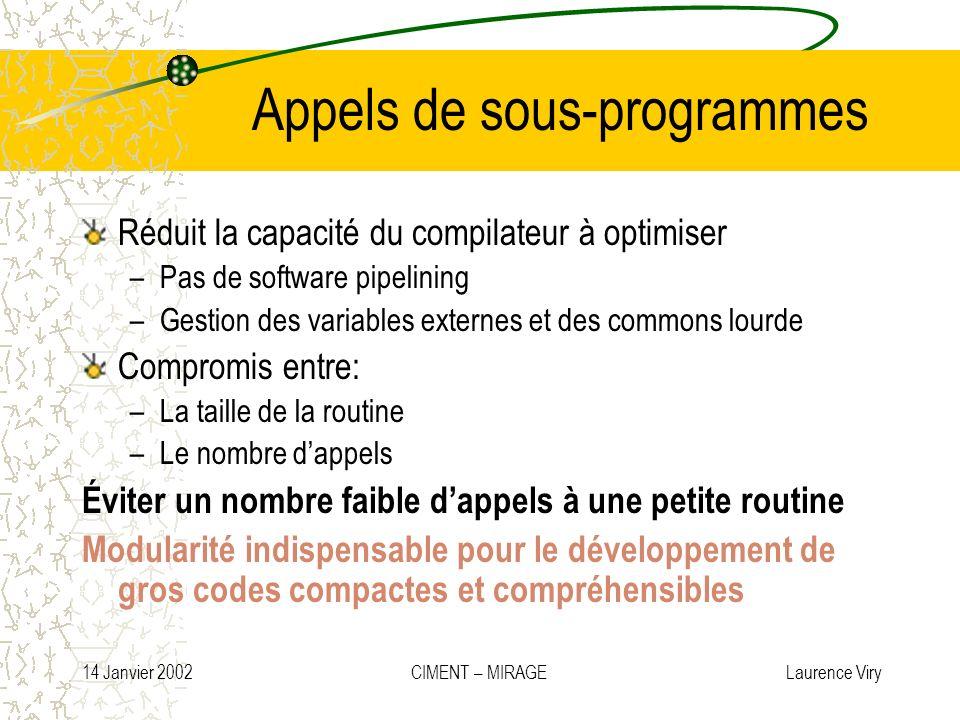 14 Janvier 2002 CIMENT – MIRAGE Laurence Viry Appels de sous-programmes Réduit la capacité du compilateur à optimiser –Pas de software pipelining –Ges