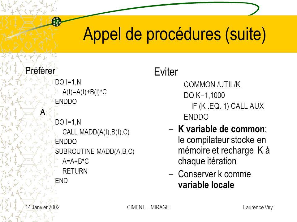14 Janvier 2002 CIMENT – MIRAGE Laurence Viry Appel de procédures (suite) Préférer DO I=1,N A(I)=A(I)+B(I)*C ENDDO À DO I=1,N CALL MADD(A(I),B(I),C) E