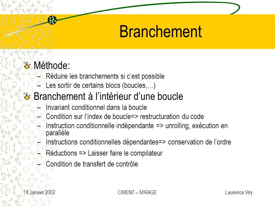 14 Janvier 2002 CIMENT – MIRAGE Laurence Viry Branchement Méthode: –Réduire les branchements si cest possible –Les sortir de certains blocs (boucles,…