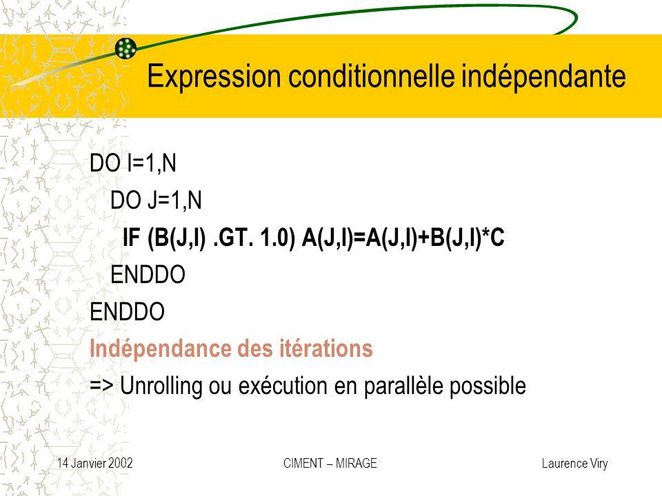 14 Janvier 2002 CIMENT – MIRAGE Laurence Viry Expression conditionnelle indépendante DO I=1,N DO J=1,N IF (B(J,I).GT. 1.0) A(J,I)=A(J,I)+B(J,I)*C ENDD