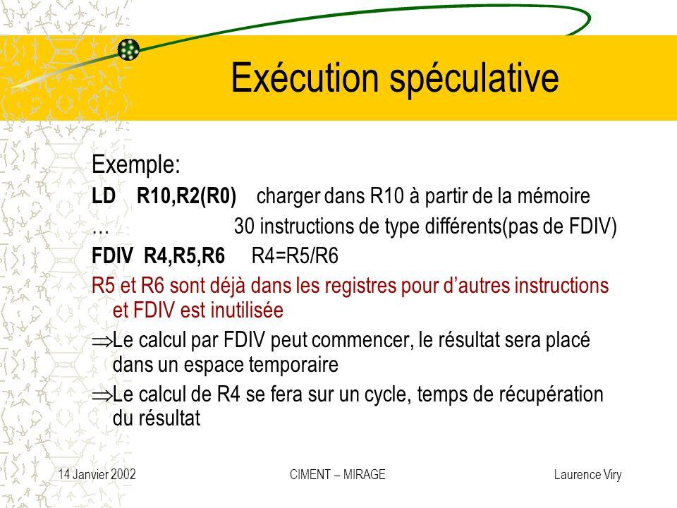 14 Janvier 2002 CIMENT – MIRAGE Laurence Viry Exécution spéculative Exemple: LD R10,R2(R0) charger dans R10 à partir de la mémoire … 30 instructions d