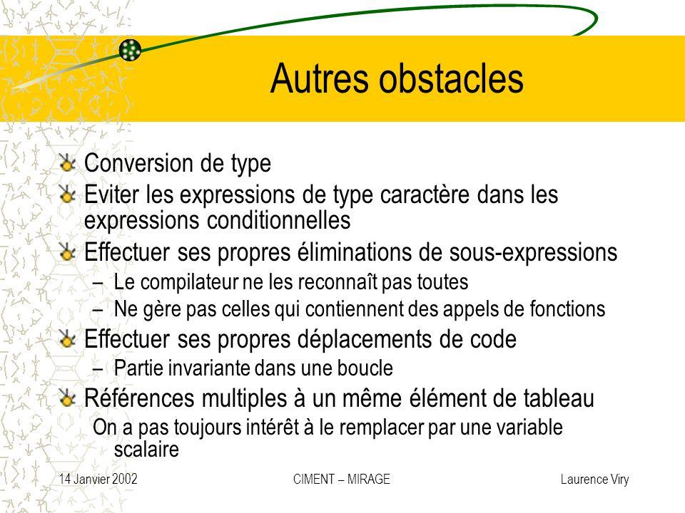 14 Janvier 2002 CIMENT – MIRAGE Laurence Viry Autres obstacles Conversion de type Eviter les expressions de type caractère dans les expressions condit