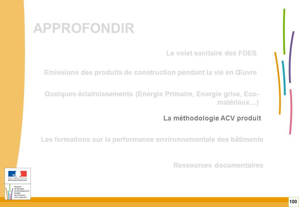 APPROFONDIR 100 Quelques éclaircissements (Energie Primaire, Energie grise, Eco- matériaux…) Emissions des produits de construction pendant la vie en