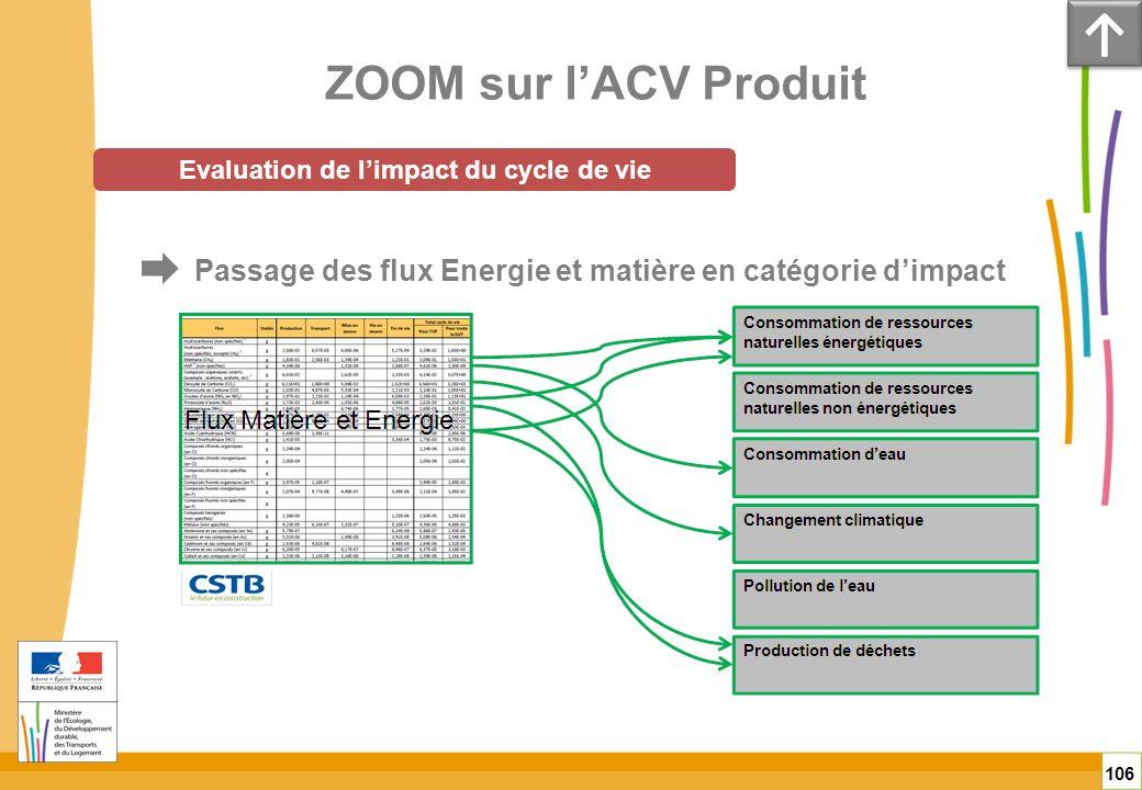 ZOOM sur lACV Produit 106 Evaluation de limpact du cycle de vie Passage des flux Energie et matière en catégorie dimpact