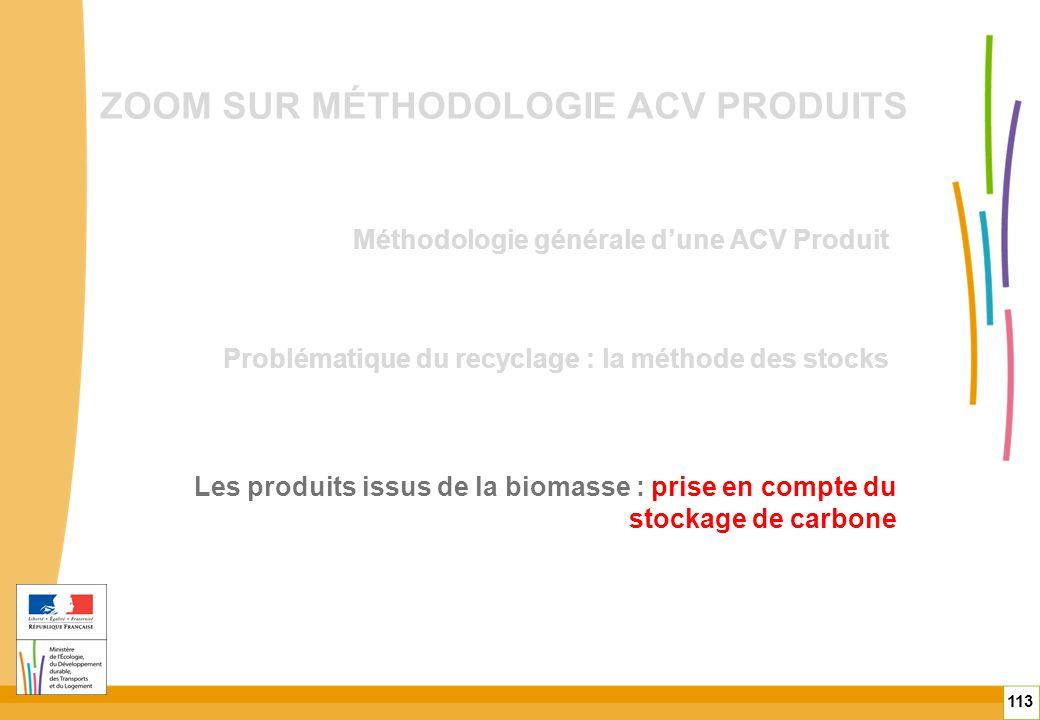 ZOOM SUR MÉTHODOLOGIE ACV PRODUITS Méthodologie générale dune ACV Produit 113 Problématique du recyclage : la méthode des stocks Les produits issus de