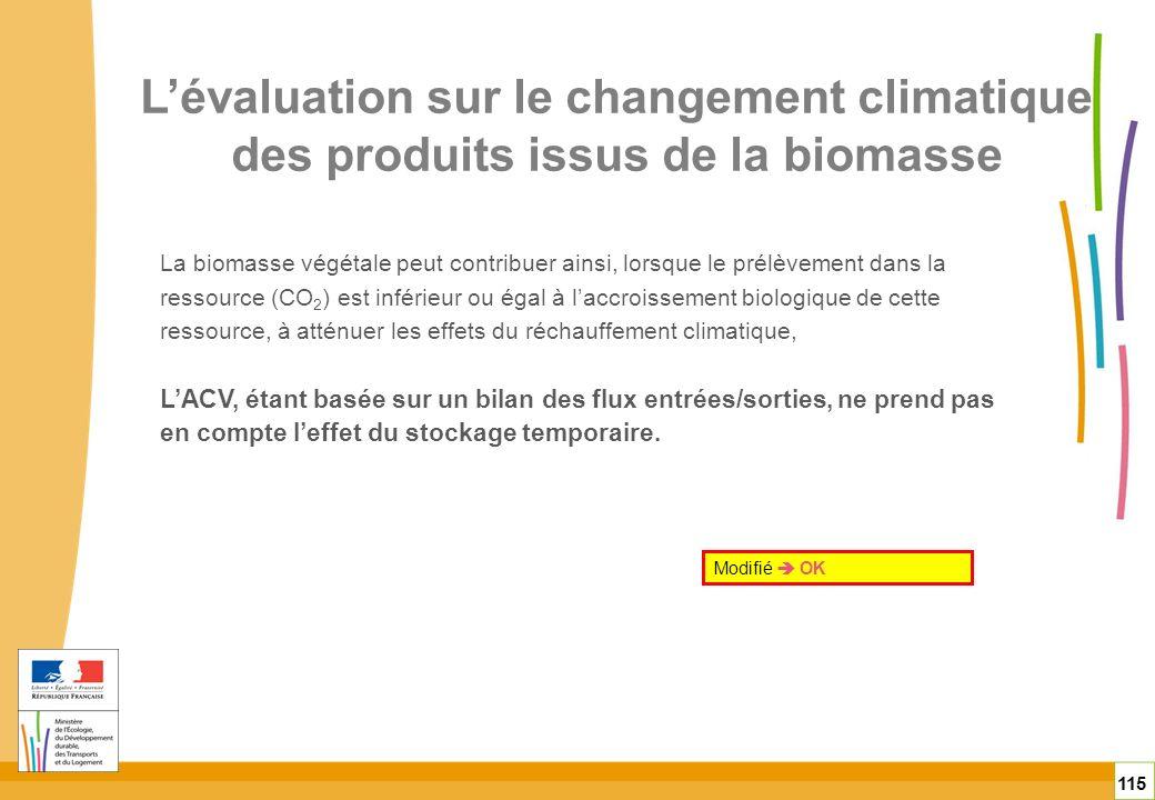 115 La biomasse végétale peut contribuer ainsi, lorsque le prélèvement dans la ressource (CO 2 ) est inférieur ou égal à laccroissement biologique de