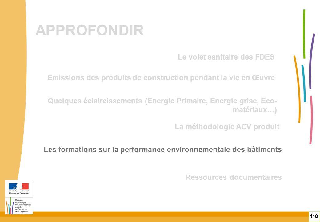 APPROFONDIR 118 Quelques éclaircissements (Energie Primaire, Energie grise, Eco- matériaux…) Emissions des produits de construction pendant la vie en
