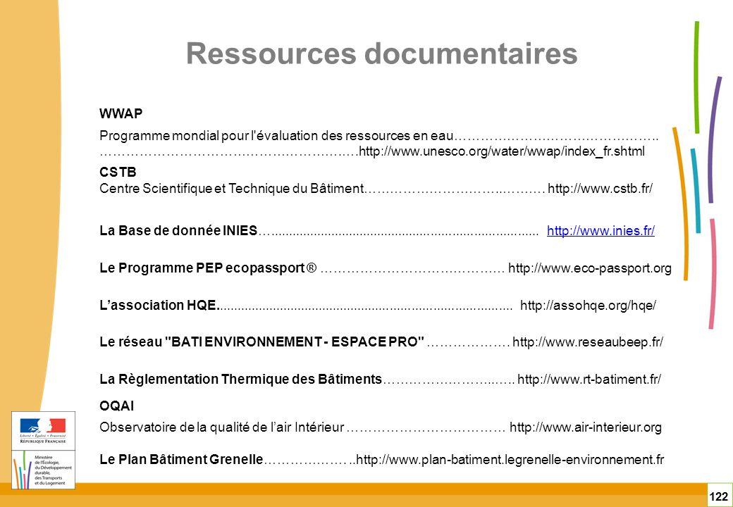 Ressources documentaires 122 WWAP Programme mondial pour l'évaluation des ressources en eau……………………………………….. ……………………………………………….….http://www.unesco.or