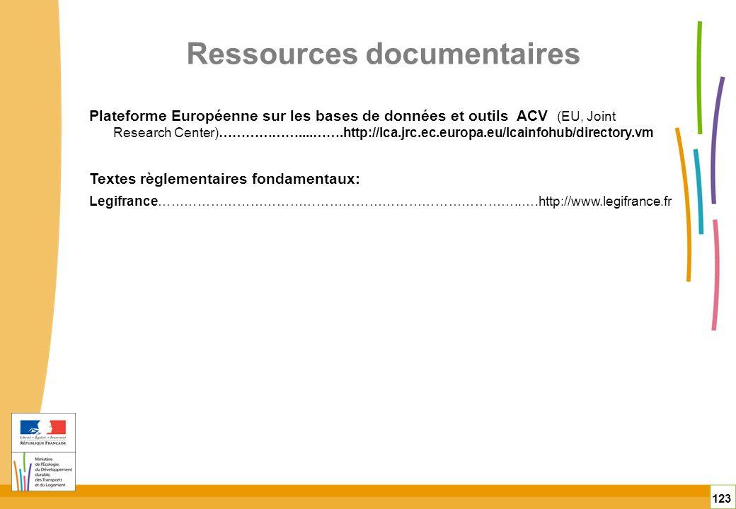 Ressources documentaires 123 Plateforme Européenne sur les bases de données et outils ACV (EU, Joint Research Center)………………....…….http://lca.jrc.ec.eu