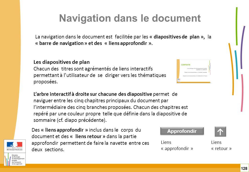 Navigation dans le document 128 La navigation dans le document est facilitée par les « diapositives de plan », la « barre de navigation » et des « lie